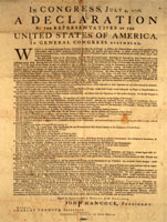 Picture of the Original Declaration of Independence Document