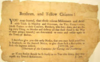 Picture of the invitation by the Sons of Liberty to the Boston Tea Party