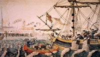 Engraving depicting the Boston Tea Party